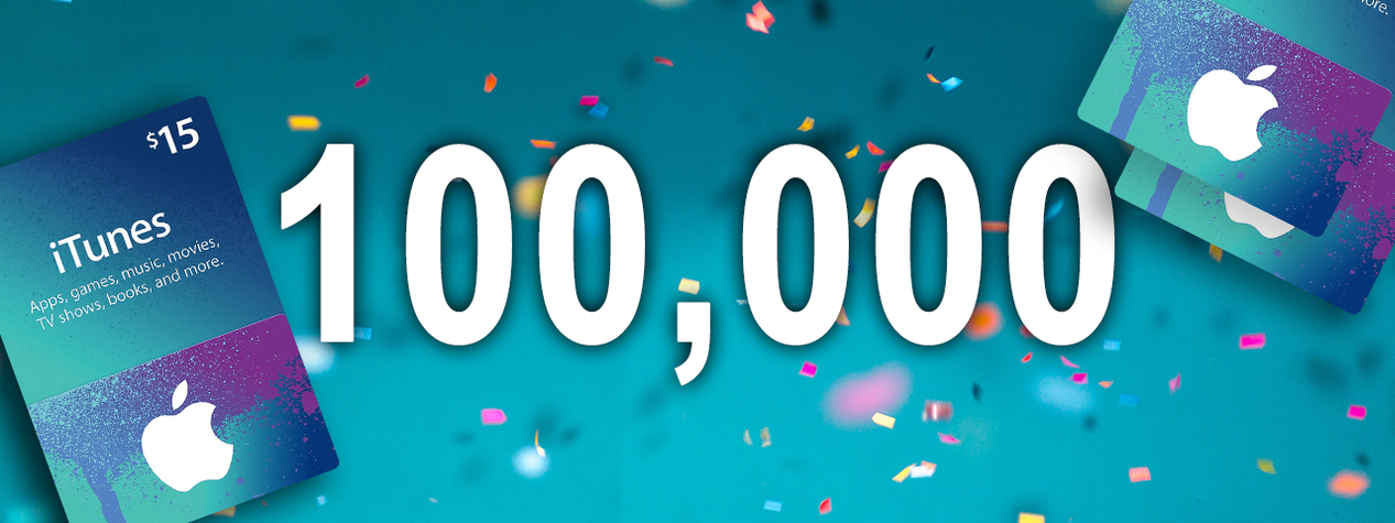 [CLOSED] Celebrating 100,000 Facebook Likes: Win a $15 iTunes Gift Card!