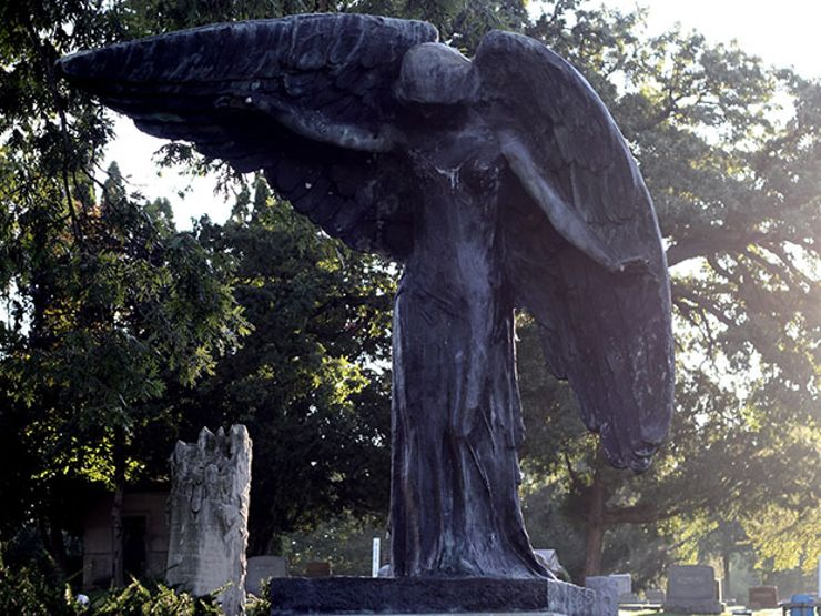 black angel statue oakland cemetery