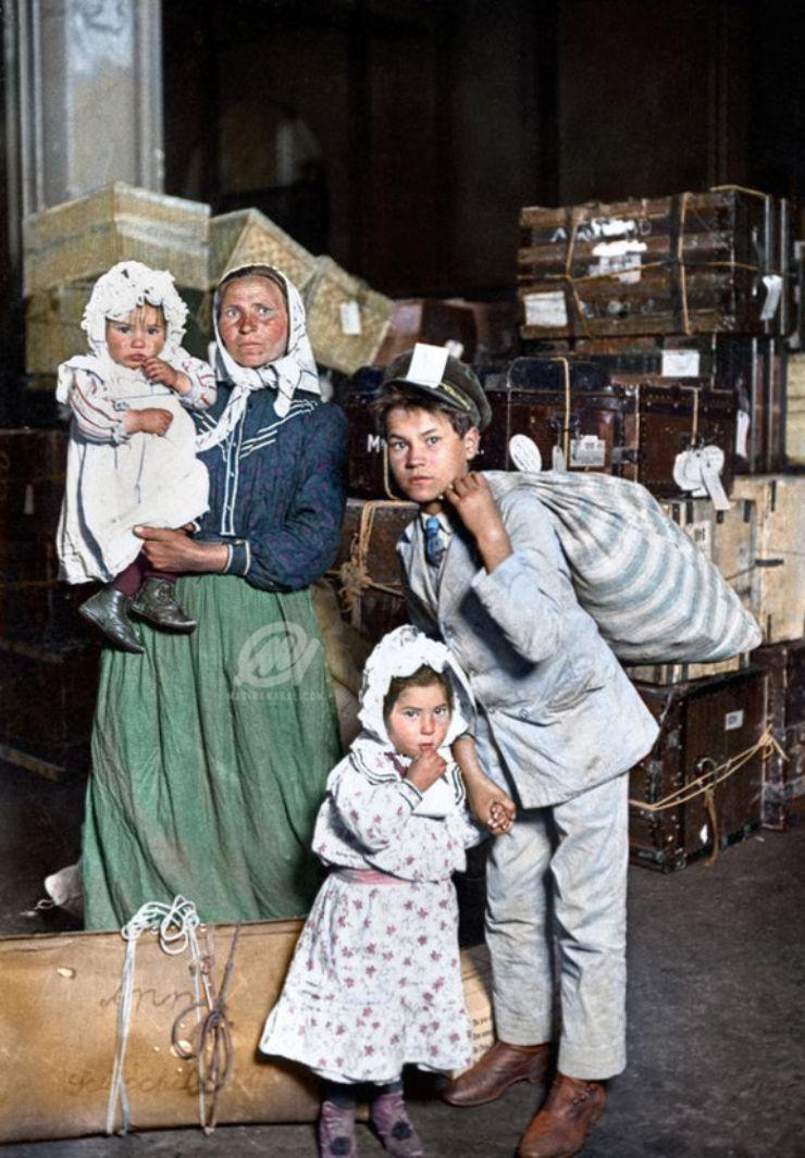 italian immigrants ellis island colorized