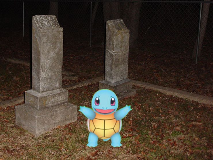 Pokemon Go in a Graveyard