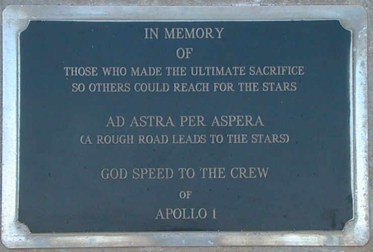 Apollo 1 disaster Moonshot plaque