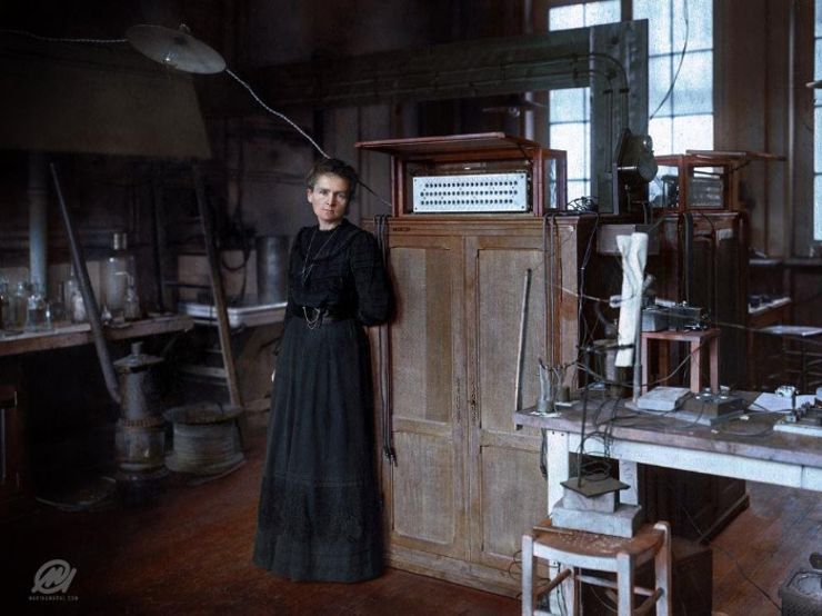 marie curie colorized