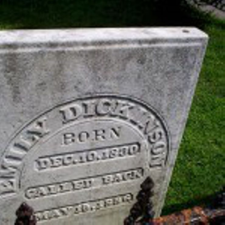 """Poet Emily Dickinson's tombstone in Amherst, Massachusetts' West Cemetery reads, """"called back."""""""