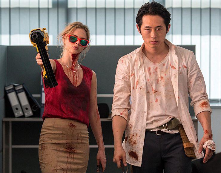 mayhem horror movie steven yeun samara weaving