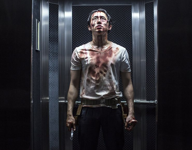 mayhem horror movie steven yeun samara weaving