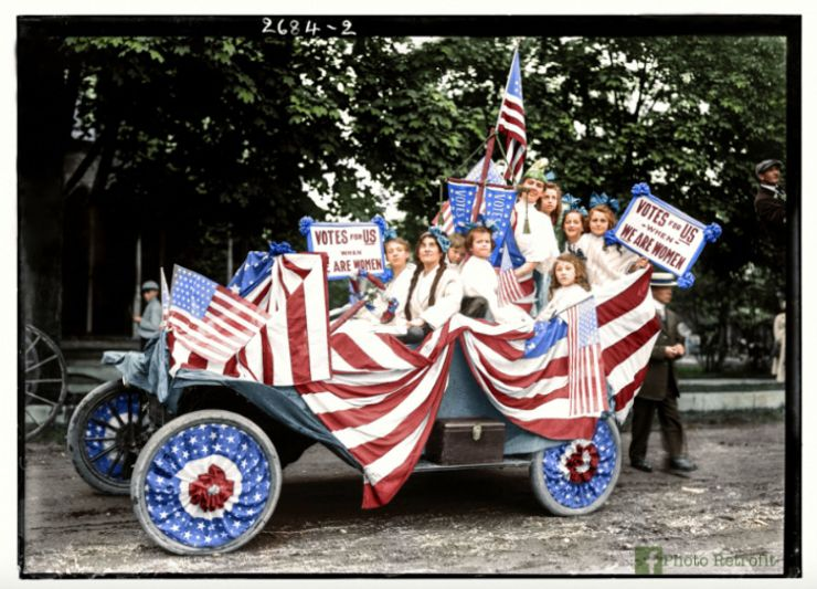 suffragists parade colorized