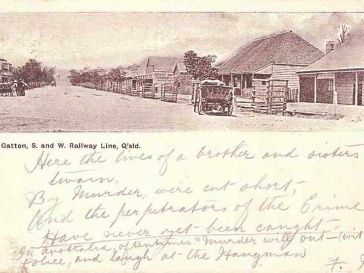A postcard depicting Gatton, Australia that describes the Gatton Murders. Photo: Aussie~mobs / Flickr (CC)