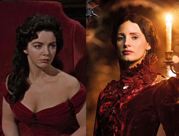 Photo: Myrna Fahey in House of Usher. Courtesy of MGM. / Jessica Chastain in Crimson Peak. Courtesy of Universal Pictures.