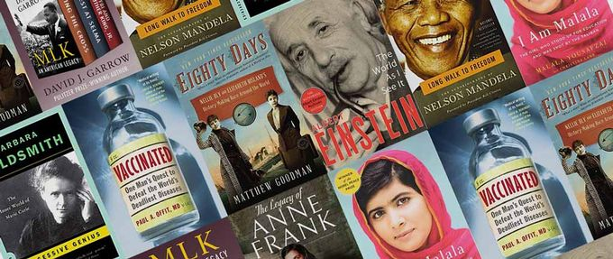 collage: books about inspiring people in history