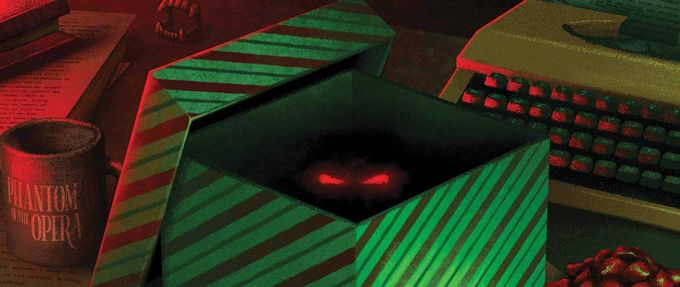 Eerie red eyes peer out of an opened present on the cover of Andrew Shaffer's Secret Santa