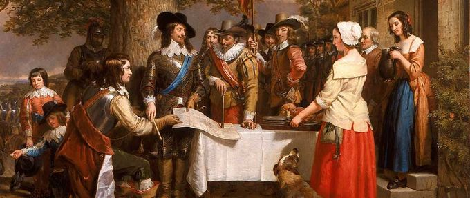 painting of Charles I at a military strategy meeting; books about royalty