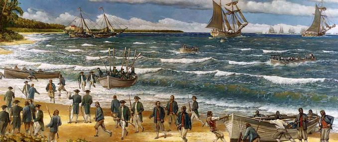 Nassau Pirates; sailors disembark on Bahamian shores