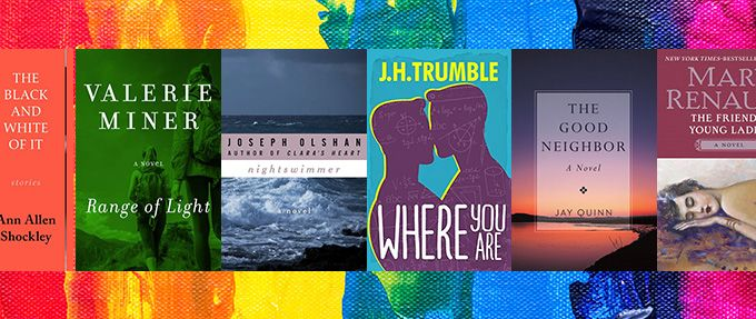 queer books on rainbow background