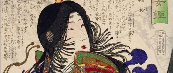 Illustration of Tomoe Gozen circa 1875