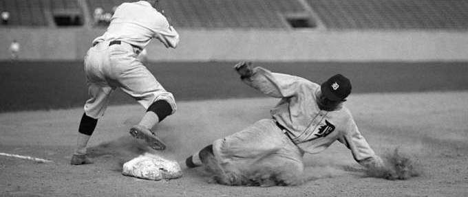 Ty Cobb sliding into a base best baseball books featured image