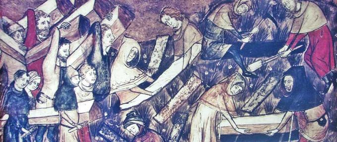 Illustration of people burying the dead from plague, history's deadliest disease