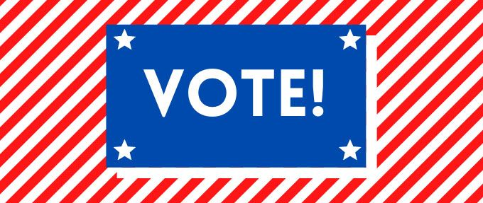 red white and blue vote! logo