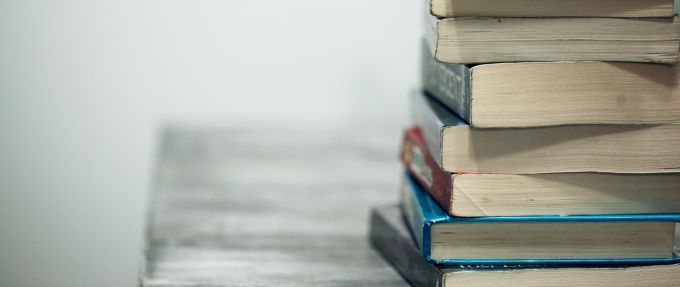 stack of books on a table