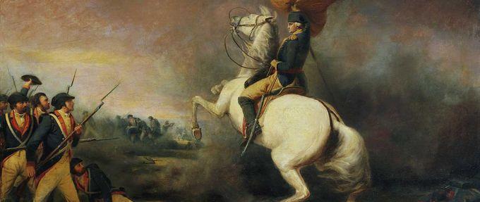 General George Washington on horse at Battle of Princeton
