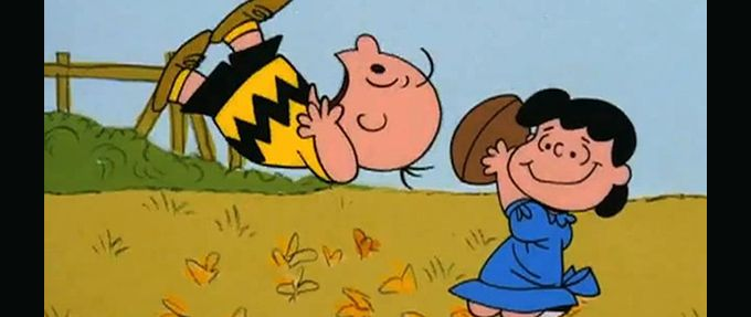 lucy pulling the football from charlie in the peanuts special A Charlie Brown Christmas