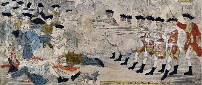 boston massacre engraving; massachusetts in the american revolution