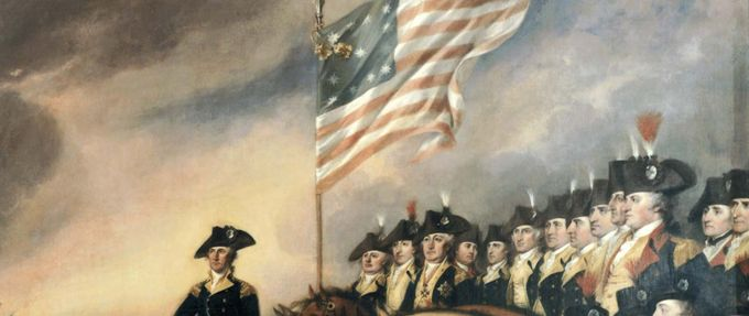 An American flag flies over George Washington and troops at the Battle of Yorktown