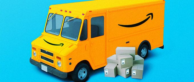 amazon prime truck and packages