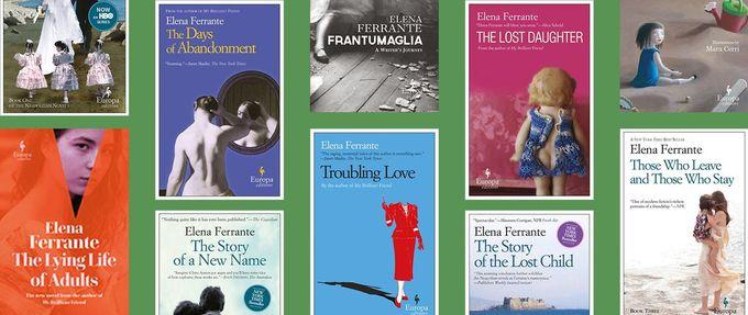 collage of elena ferrante books
