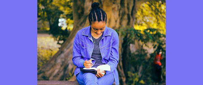 girl reading an american literature book