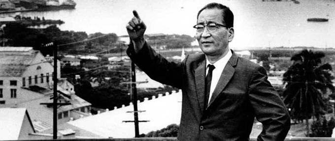Mitsuo Fuchida stands in front of Pearl Harbor in 1966.