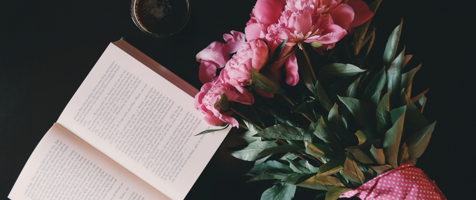 Pink flowers and novel