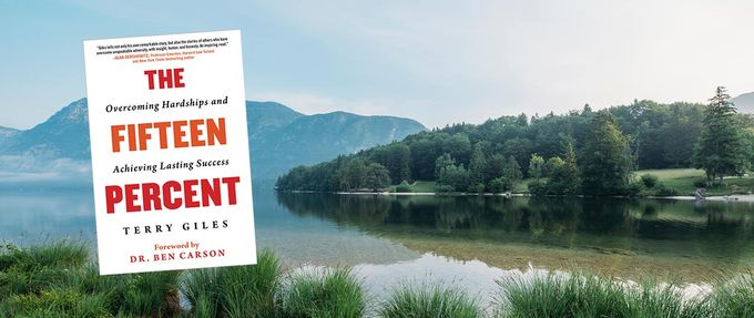 The Fifteen Percent book cover over a lake and mountain landscape