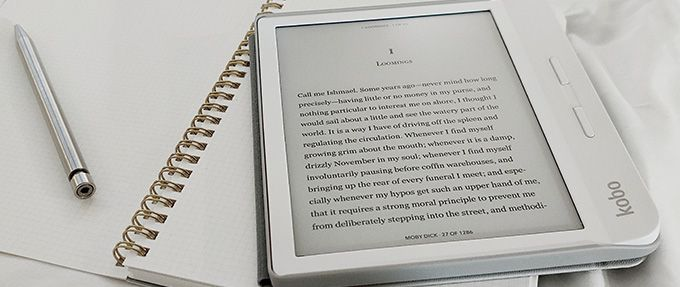white ereader showing free ebook