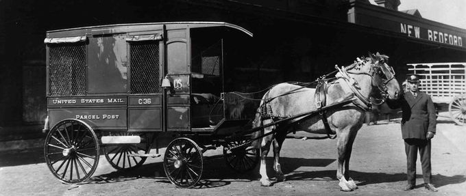 Horse drawn US Post delivery coach, in New Bedford MA, 1913