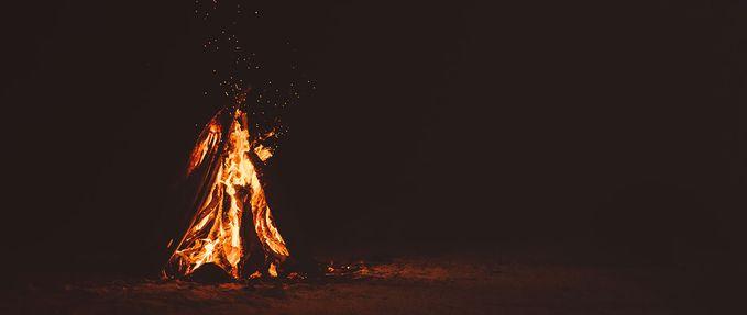 bonfire in the dark; Creepy Crate June 2020