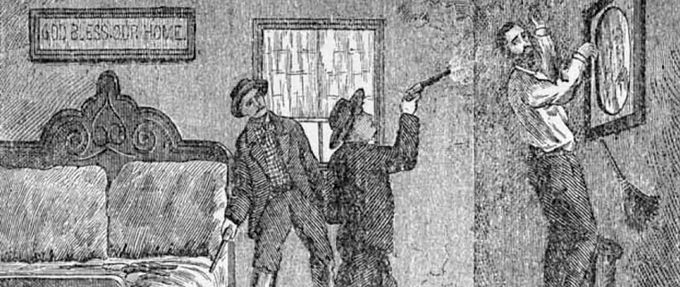 Contemporary illustration of Robert Ford shooting Jesse James