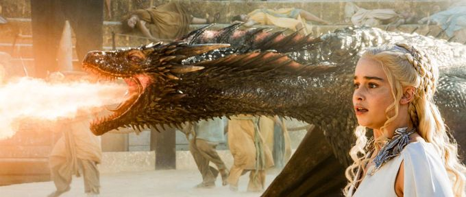 Daenerys Targaryen with Drogon in a scene from the 'Game of Thrones' HBO TV series (photo by HBO)