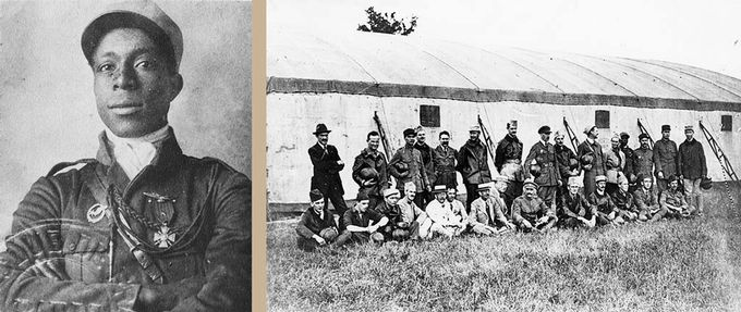 Left: Eugene Ballard in uniform; Right: group photo of Bullard and other flight students in France