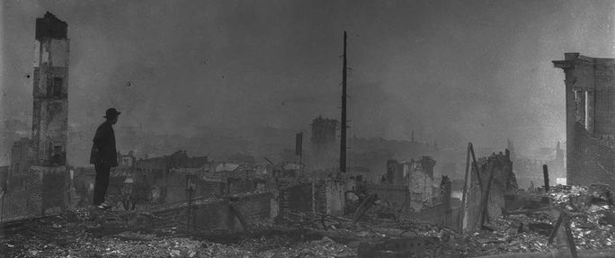 Man looks over damage caused by 1906 San Francisco earthquake; books about natural disasters